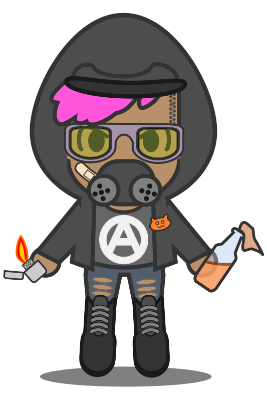 Kawaii Antifa (w gas mask)