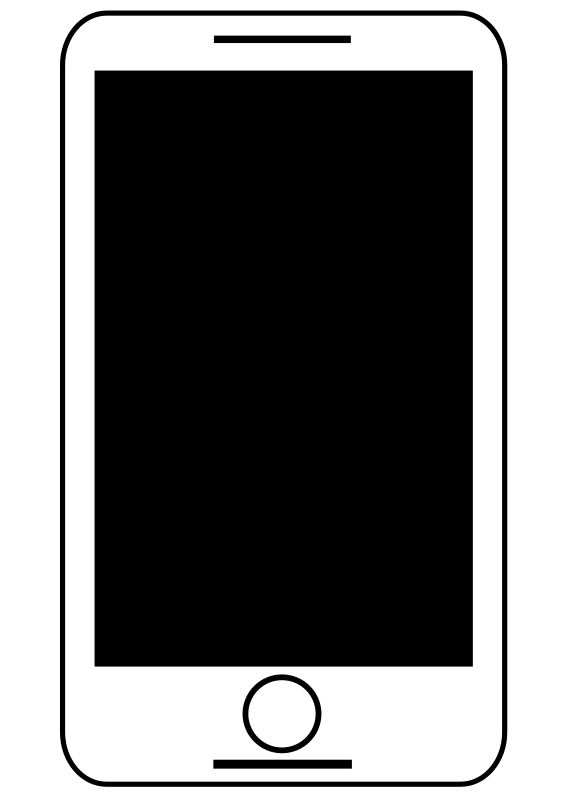 Animated Smart Phone Black And White - Free Download Clipart SVG