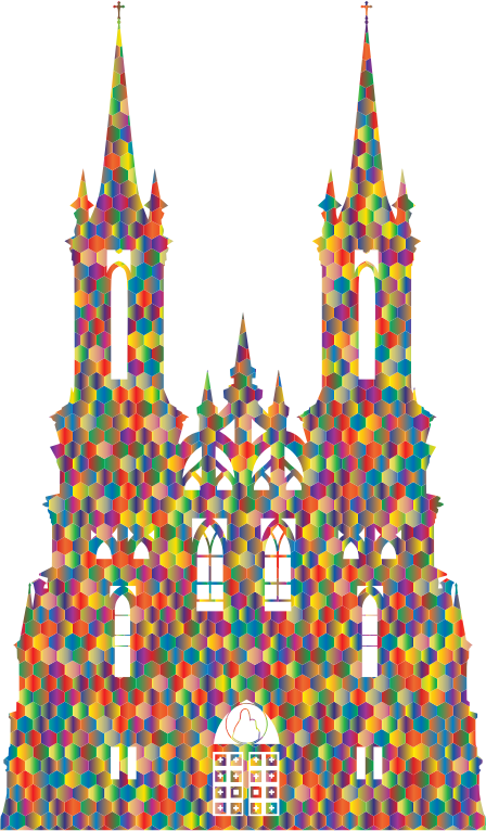 Polyprismatic Hexagonal Mosaic Gothic Castle Silhouette