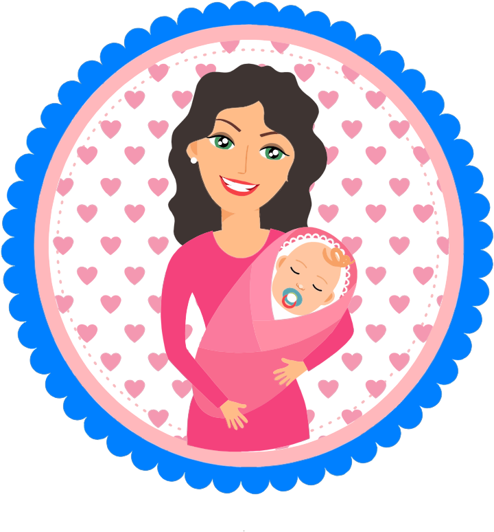 Mother Holding Baby Illustration