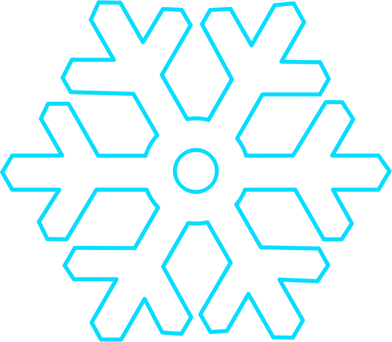 Flat white snowflake with hollow circular center