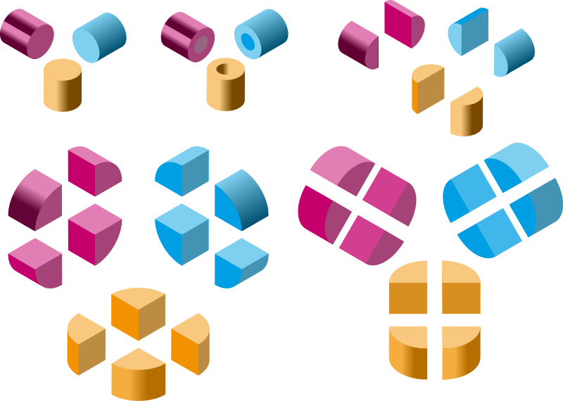 Isometric shapes 3 - cylinders