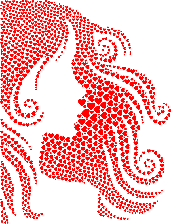 Female Hair Profile Silhouette Hearts Red