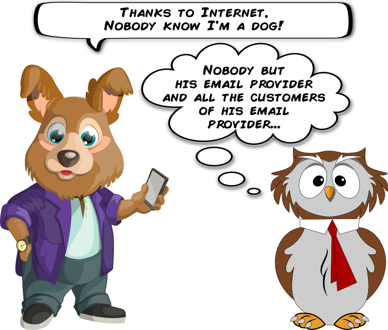 A dog and an owl about email privacy