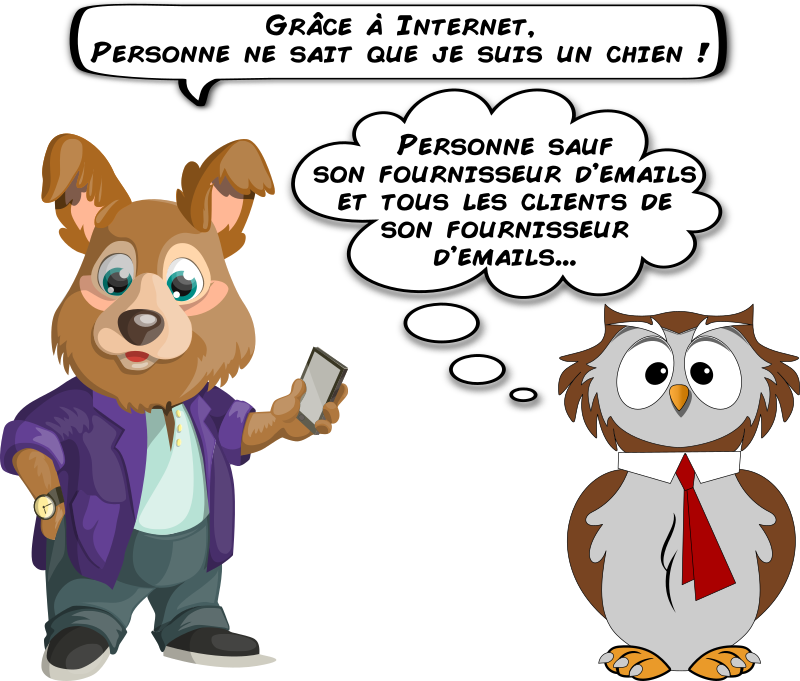 A dog and an owl about email privacy (French)