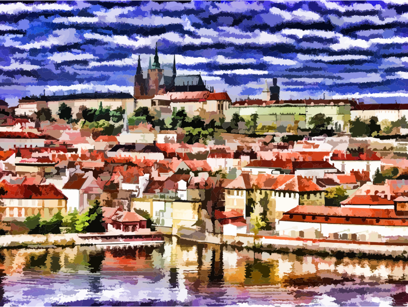 Stylized Painting Of The City Of Prague