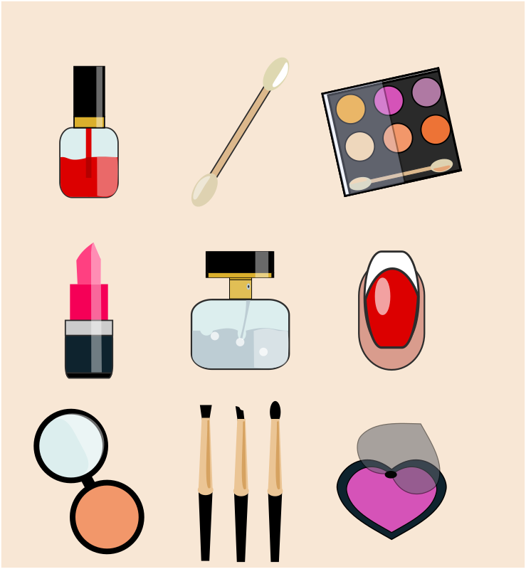 Cosmetic and beauty icons pack 1