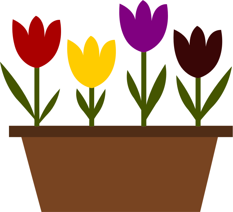 Potted tulips vectorized