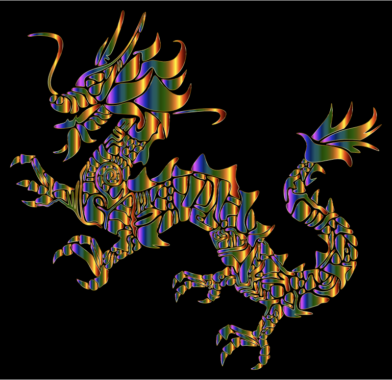 Chromatic Tribal Asian Dragon Silhouette