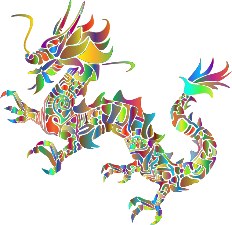 Polyprismatic Tribal Asian Dragon Silhouette No Background