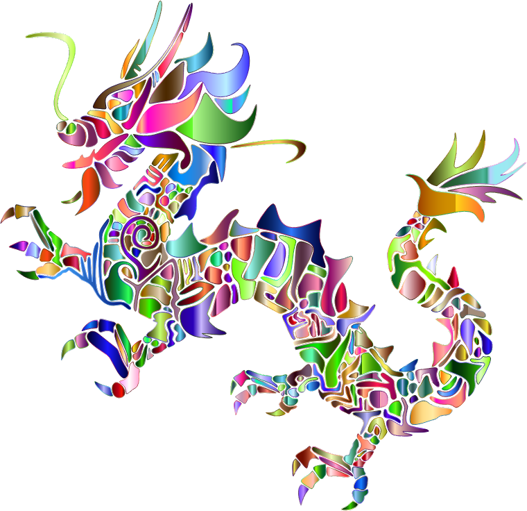 Chromatic Tribal Asian Dragon Silhouette 2 No Background