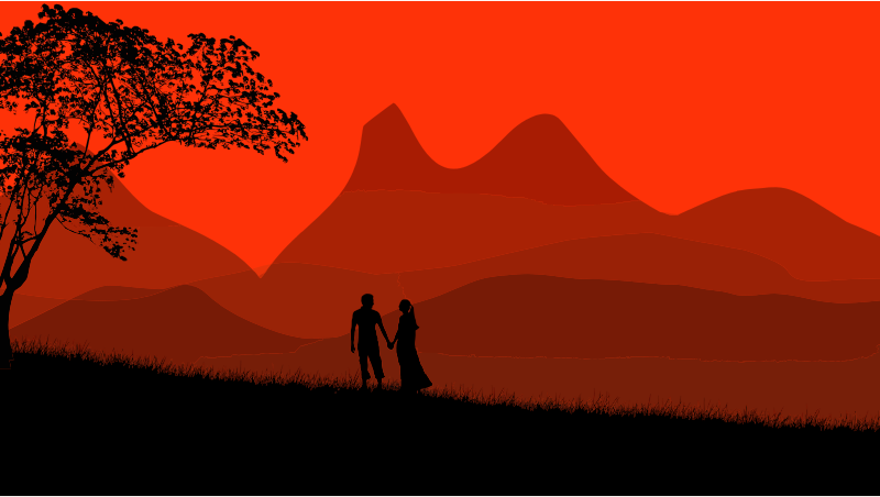 Sunset Couple Silhouette