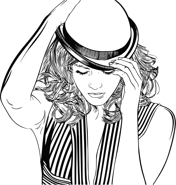 Woman Adjusting Hat Line Art