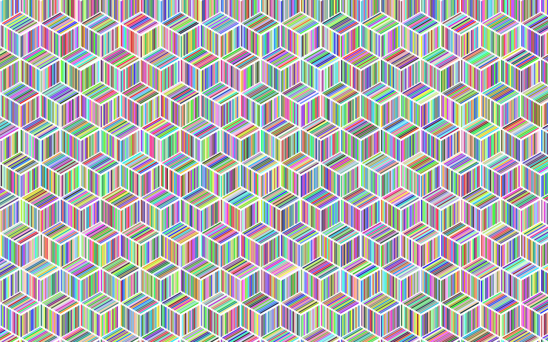 Prismatic Isometric Striped Cubes Pattern