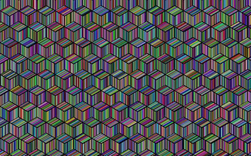Prismatic Isometric Striped Cubes Pattern With Background