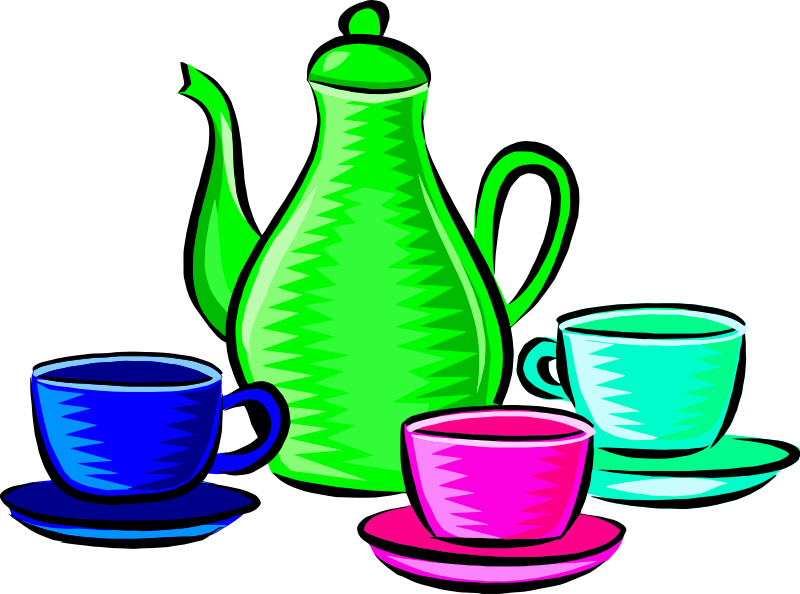 Coffee pot and cups (colour 2)