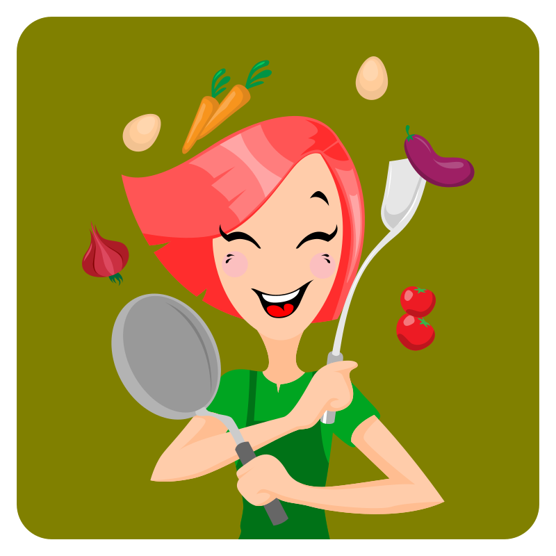 A girl prepares cooking