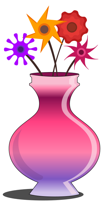 Flower vase pink with flowers