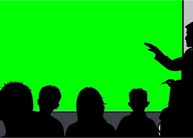 Classroom Silhouette 16:9 (HD) with green screen