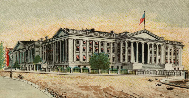 Cigarette card - Treasury Building in Washington