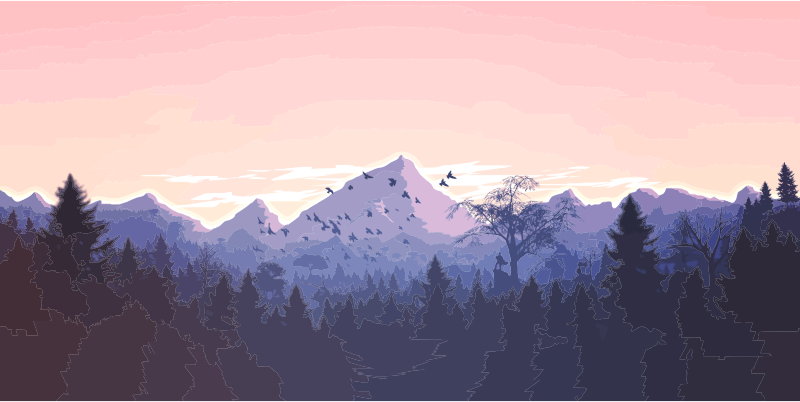 Forrest And Mountains Illustration