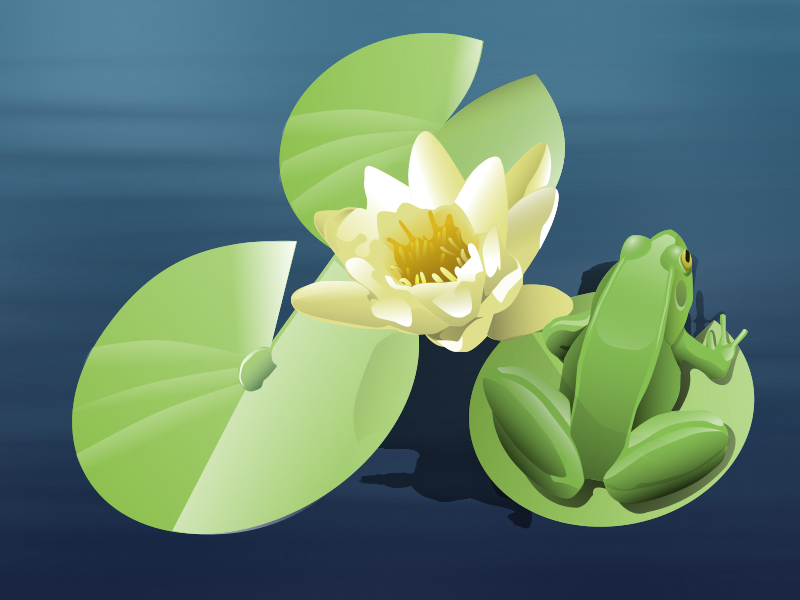 frog on a lily pad (animated)