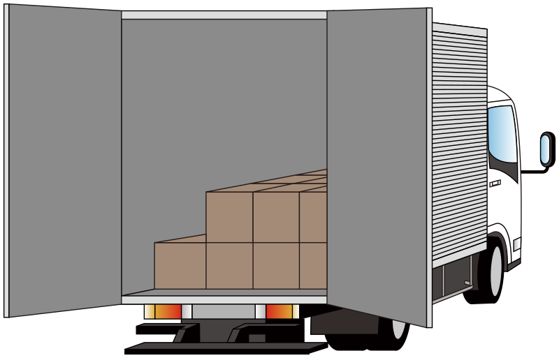 Delivery truck - rear side opened