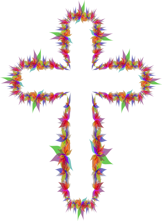 Abstract Flowers Cross