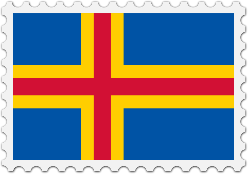 Aland flag stamp