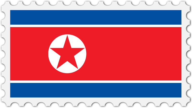 North Korea flag stamp
