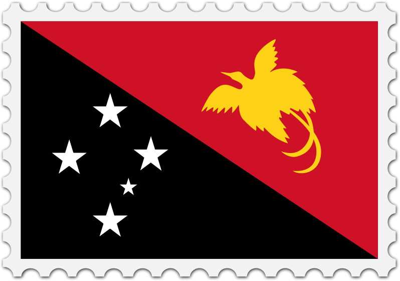 Papua New Guinea flag stamp