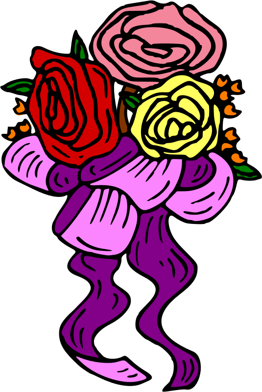 Flowers with ribbon (colour)