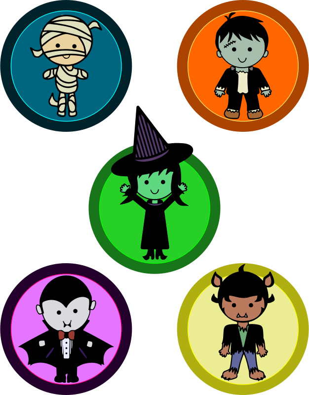 Cute Halloween Monster Badges