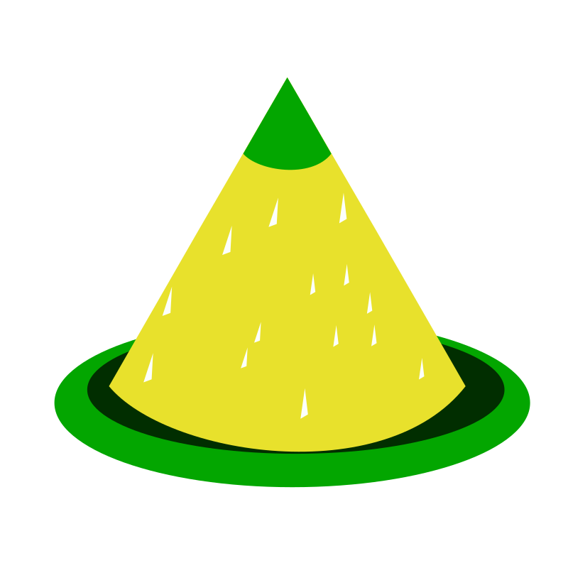 cone-shaped yellow rice dish (tumpeng)