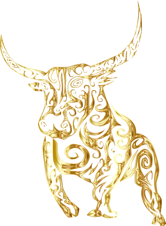 Tribal Bull Line Art Gold