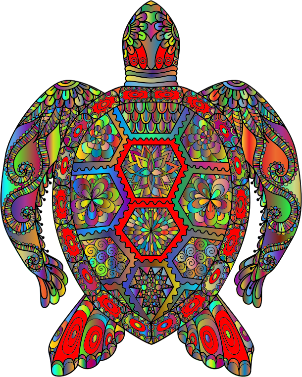 Floral Sea Turtle Line Art Prismatic 2