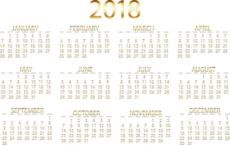 2018 Calendar Gold No Background