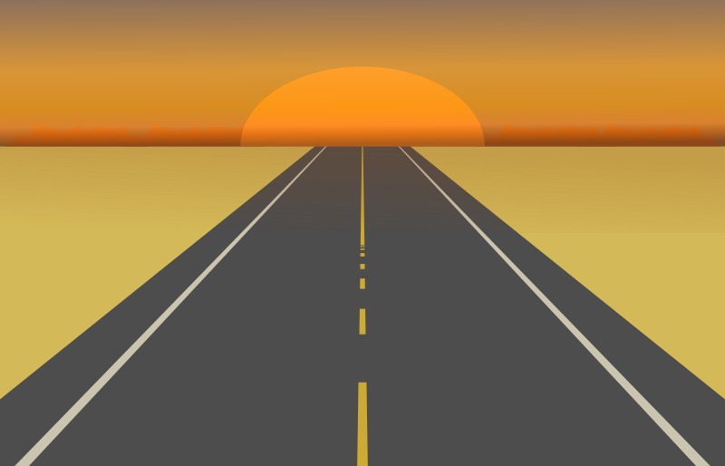 Desert Road Sunset