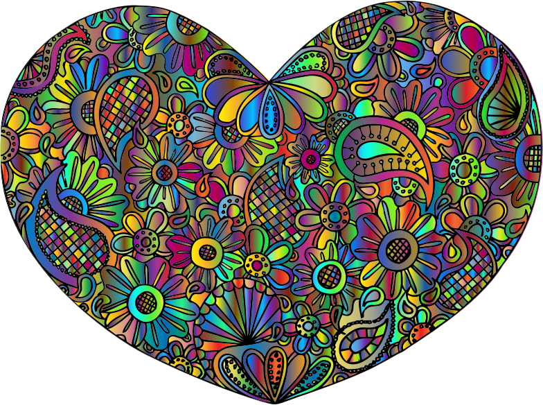 Ornamental Floral Heart Prismatic