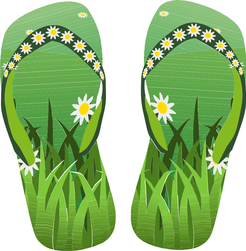 Thong Green With Grass and Flowers Remake