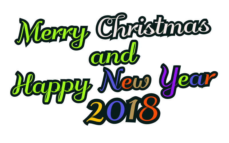 Merry Christmas & Happy New Year 2018 - decorative text