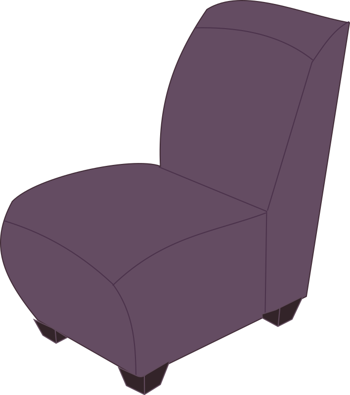Purple armless chair