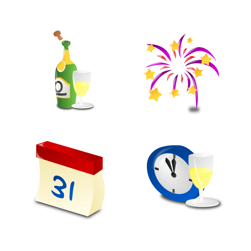 New Year's Icon Set Collection