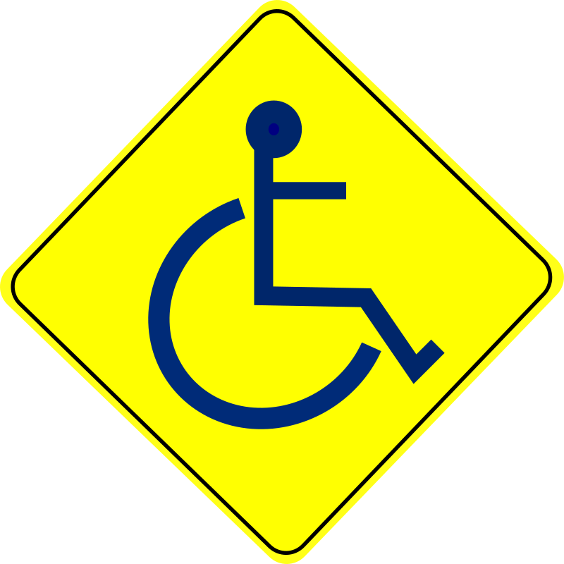 Wheelchair Caution Sign Blue - Free Clipart Icon Download