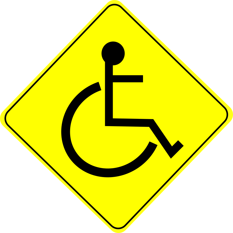 Wheelchair Caution Sign Black - Free Clipart Icon Download