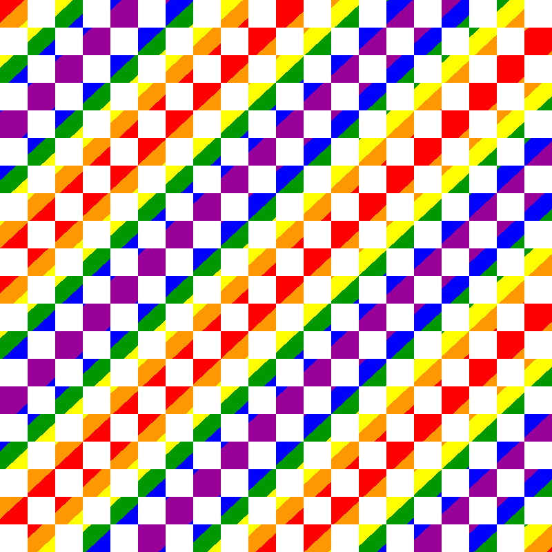 Square pattern with rainbow gradient