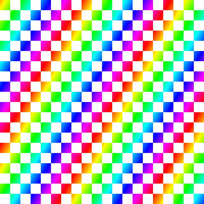 Squares rendered with rainbow colors