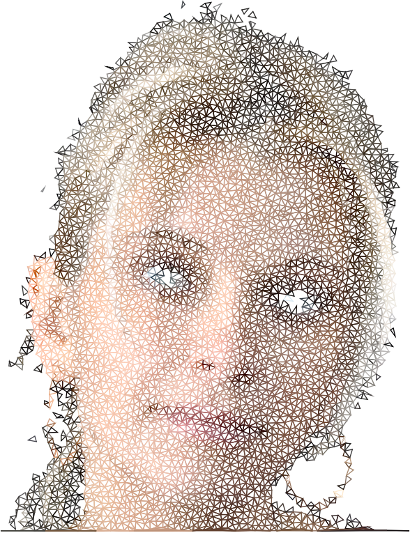 High Poly Blonde Woman Portrait Wireframe No Black
