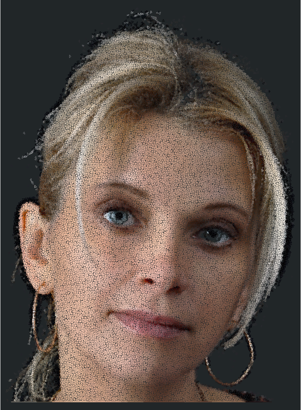 Very High Poly Blonde Woman Wireframe