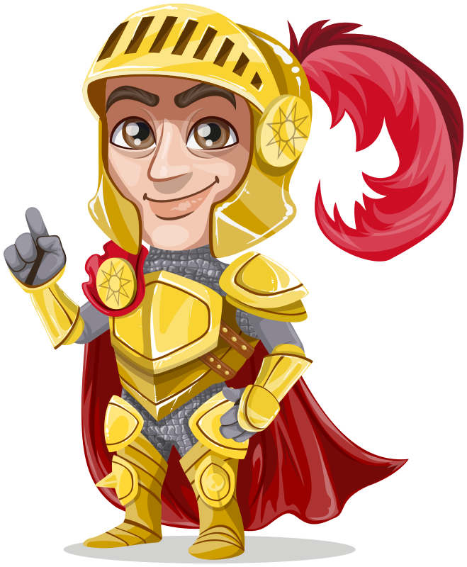 King or prince warrior in golden armor, without weapons